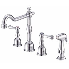 Opulence Double Handle Deck Mount Kitchen Faucet with Spray