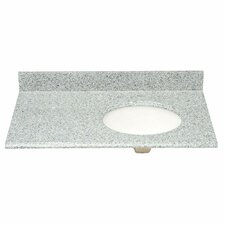 """37"""" Single Granite Vanity Top with Offset Right Bowl and Faucet Spread"""