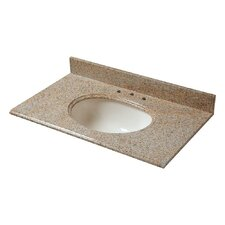 """31"""" Single Granite Vanity Top with Biscuit Bowl and Faucet Spread"""