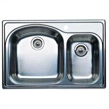 "Wave Plus 33"" x 22"" Plus Bowl Drop-In Kitchen Sink"