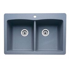 """Diamond 33"""" x 22"""" Equal Double Bowl Drop-In Kitchen Sink"""
