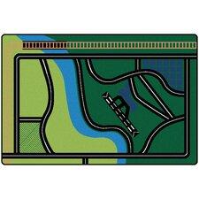 Transportation Fun Green Area Rug