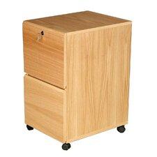 Modular Real Oak Wood Veneer 2-Drawer Mobile File Cabinet