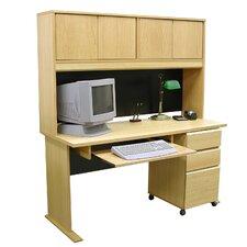 Modular Real Oak Wood Veneer Standard Computer Desk with Hutch