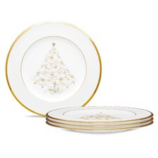 """Palace Christmas Gold 8.5"""" Holiday Accent Plate (Set of 4)"""