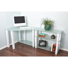 White Lines Computer Desk with Extension and 3 Shelves