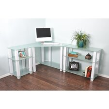 White Lines Corner Computer Desk with Left and Right Extension Table