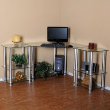 """Clear Tempered Glass Corner Computer Desk with 2 20"""" Modular Extensions"""
