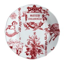"Yuletide Garland 7.25"" Printed Porcelain Stoneware Fluted Salad Plate (Set of 4)"