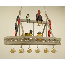 Napa Hanging Pot Rack with 3 Lights
