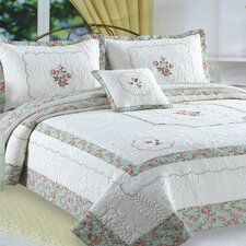 Kona Flower Embroidery Quilt Cotton Throw