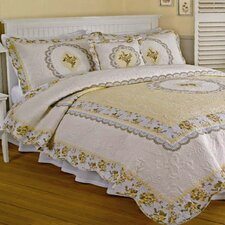 Victoria Yellow with Embroidery Quilt Collection