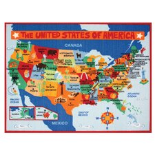 My Country USA Map Area Rug