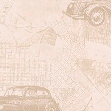 "Lodge Décor 33' x 20.5"" Car and Map Toss Wallpaper"