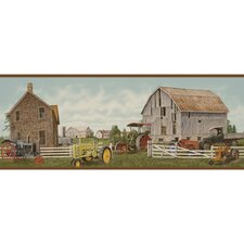 """Lodge Décor 15' x 9"""" Tractor and Barn Scenic Border Wallpaper"""