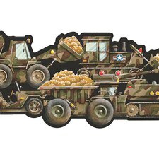 "Whimsical Children's Vol. 1 Truck Camouflage 15' x 9"" Border Wallpaper"