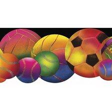 "Whimsical Children's Vol. 1 Neon Sports Balls Die-Cut 15' x 7.75"" Border Wallpaper"