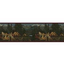 """Lodge Décor 15' x 9"""" Campfire Scenic Border Wallpaper"""