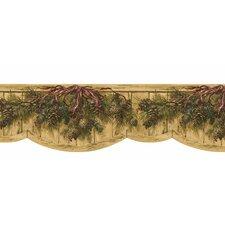 "Lodge Décor 15' x 9.5"" Pinecone Swag Die-Cut Floral Botanical Border Wallpaper"