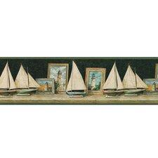 """Lodge Décor 15' x 9.5"""" Pond Boat Scenic Border Wallpaper"""