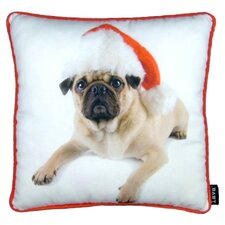 Holiday Pug with Hat Throw Pillow