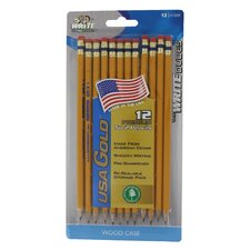 USA Gold Premium Cedar No. 2 Pre Sharpened Pencil (12 Count)