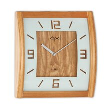 "12"" Square Wooden Curved Case Wall Clock"