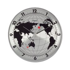 "12"" World Map Printed Round Stainless Steel Case Wall Clock"