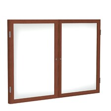 2 Door Wood Frame Enclosed Porcelain Magnetic Whiteboard