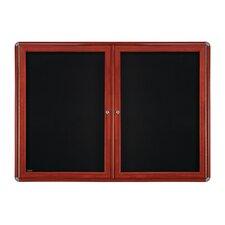 2-Door Wood Look Ovation Fabric Bulletin Board, 3' x 4'