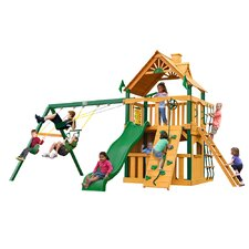 Chateau II Clubhouse with Amber Posts and Canopy Cedar Swing Set