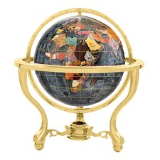 """13"""" Commander Black Opalite Globe with Three Leg Stand in Gold"""