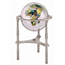 "17"" Ambassador Opal Globe with Three Leg High Stand in Silver"