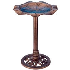 Lily Leaf Pedestal Bird Bath