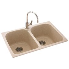 "Metropolitan 33"" x 22"" Double Bowl Kitchen Sink"