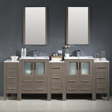 "Torino 84"" Double Modern Bathroom Vanity Set with Mirror"