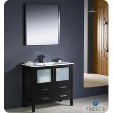 "Torino 36"" Single Modern Bathroom Vanity Set with Mirror"