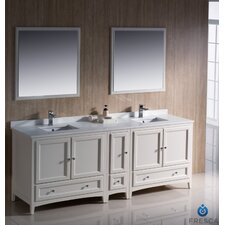 """Oxford 84"""" Double Traditional Bathroom Vanity Set with Mirror"""
