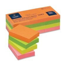 "Adhesive Notes,Plain,1-1/2""x2"",100 Sheets per Pad,12 Pads per Pack,Neon (Set of 2)"