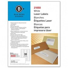 """Mailing Label, Laser, 1""""x2-5/8"""", 3000 per Pack, White"""