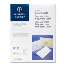 """Mailing Labels, Laser, 1""""x2-3/4"""", 1500 per Pack, Clear"""