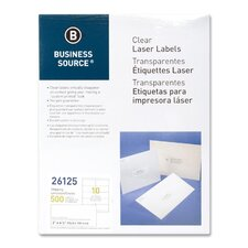 "Shipping Labels, Laser, Permanent, 2""x4"", 500 per Pack, Clear"