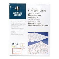 """Name Badge, Laser, 2-1/3""""x3-3/8"""", 400 per Pack, White/Red"""