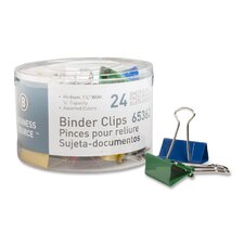 "Binder Clips, Medium 1-1/4""W, 5/8"" Capacity, 24 per Pack, Assorted (Set of 3)"
