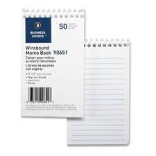 "Wirebound Memo Book, End Spiral, 50 Sheets, 3""x5"", White, 12-Pack"