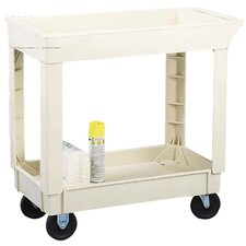 "2-Shelf Utility Cart, 200Lb Cap, 34-3/8""x17-1/2""x33"", Beige"