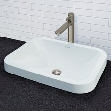 Matt Muenster Exclusive Vitreous China Semi-Recessed Rectangular Lavatory with Rounded Corners and Overflow