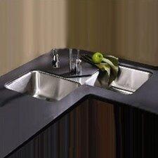 """Lustertone 32"""" x 32"""" Undermount Double Bowl Corner Kitchen Sink"""