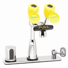 """Eyesaver Centerset Faucet with 8"""" Deck Plate, Counter Mixer, Manual Override, Optional Thermostatic Mixing Valve and Ac Powered"""