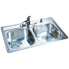 "33"" x 22"" 18 Gauge Double Bowl Kitchen Sink"